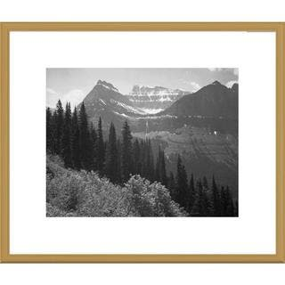 Global Gallery Ansel Adams 'Trees, Bushes and Mountains, Glacier National Park, Montana' Framed Art