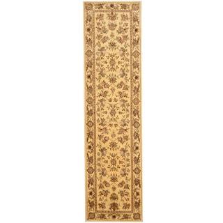 Herat Oriental Indo Hand-tufted Tabriz Ivory/ Green Wool & Silk Runner (2'5 x 10')