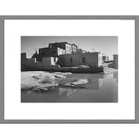 Global Gallery Ansel Adams 'Adobe House with Water in Foreground - Acoma Pueblo, New Mexico' Framed