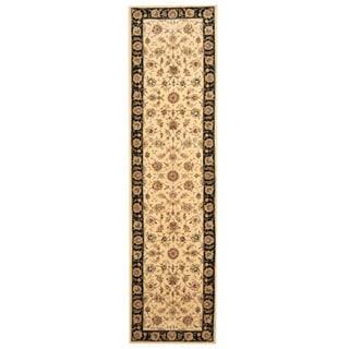 Herat Oriental Indo Hand-tufted Tabriz Ivory/ Black Wool & Silk Runner (2'5 x 10')