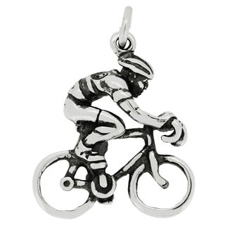 BSE Sterling Silver Bicycle Rider Charm Pendant (20 x 18 mm)