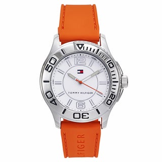 Tommy Hilfiger Men's Orange Rubber and Stainless Steel Japanese Quartz Watch