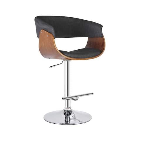 Mid Century Modern Swivel Adjustable Grey Upholstered Barstool