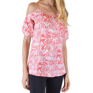 Women's Blue/Red Cotton/Lycra Printed Cut-out Shoulder Spaghetti Strap Top|https://ak1.ostkcdn.com/images/products/11742153/P18659300.jpg?impolicy=medium