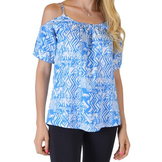 Women's Blue/Red Cotton/Lycra Printed Cut-out Shoulder Spaghetti Strap Top (More options available)