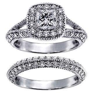14k White Gold 2 2/5ct TDW Princess-cut Diamond Halo Bridal Ring Set (G-H, SI1-SI2)