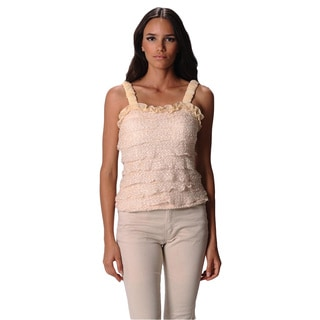 Sara Boo Solid Lace Tiered Ruffle Top