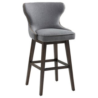 "Sunpan Ariana Swivel 30"" Barstool - Dark Grey Fabric."