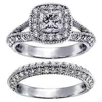 Platinum 2 2/5ct TDW Princess-cut Diamond Bridal Ring Set