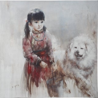 20 Inch by 20 Inch Wall Art Featuring Young Girl and Her Dog