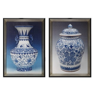 14 Inch by 20 Inch Chinese Porcelain Painting Inspired Framed Wall Art (Set of 2)