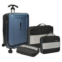 Traveler's Choice Barcelona 22-inch Polycarbonate Carry On Hardside Spinner Suitcase and Packing Cubes Set