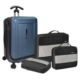 Traveler's Choice Barcelona 22-inch Polycarbonate Carry On Hardside Spinner Suitcase and Packing Cubes Set (2 options available)