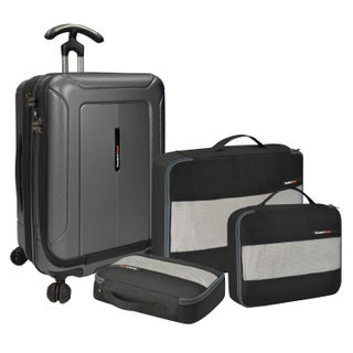 Traveler's Choice Barcelona 22-inch Polycarbonate Carry On Hardside Spinner Suitcase and Packing Cubes Set (Option: Grey)