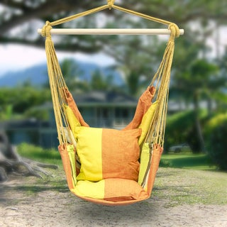 Sorbus Blue Hanging Rope Chair Porch Swing Seat Patio Camping Max. 265 Lbs