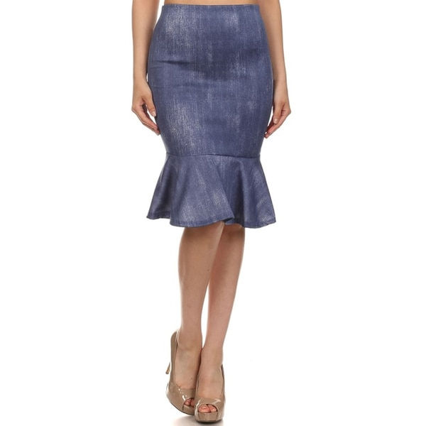 MOA Collection Fitted Flare Faded Denim Skirt - Free Shipping On Orders Over $45 - Overstock ...