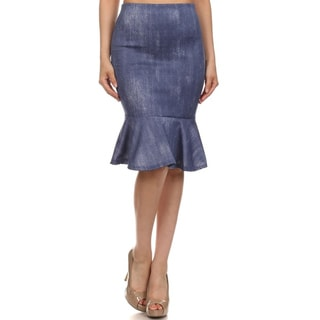 MOA Collection Fitted Flare Faded Denim Skirt