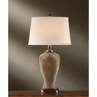 Crestview Collection 32-inch Coffee and Red Rubbed Table Lamp