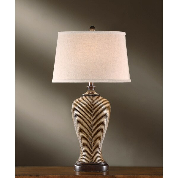 """Wheaton Rattan and Wood 32-inch Table Lamp - 32""""H. Opens flyout."""