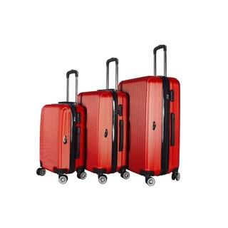 Brio Luggage 3-piece Expandable Hardside Spinner Luggage Set (Option: Red)