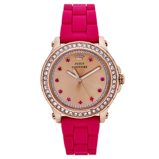 Juicy Couture Women's Pink Rubber and Goldtone Japanese Quartz Watch