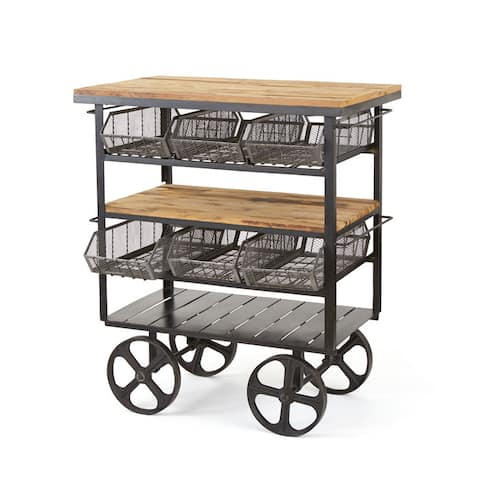 Black Frame Large Wheel Bar Cart