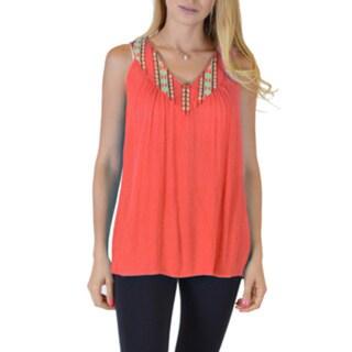 Women's Black/Orange/Yellow Rayon Sleeveless Loose Fitting V-Neck Top