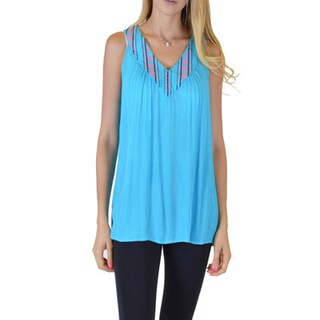 Women's Black/Orange/Yellow Rayon Sleeveless Loose Fitting V-Neck Top (More options available)