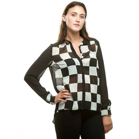 Women's Black/White Synthetic Checkered Long Sleeve Blouse