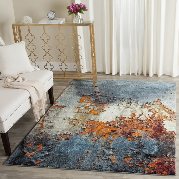 The Curated Nomad Barebottle Abstracted Watercolor Blue/Multi Rug - 8' x 10'