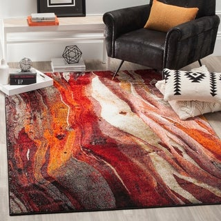 Safavieh Glacier Contemporary Abstract Red/ Multi Area Rug (8' x 10')