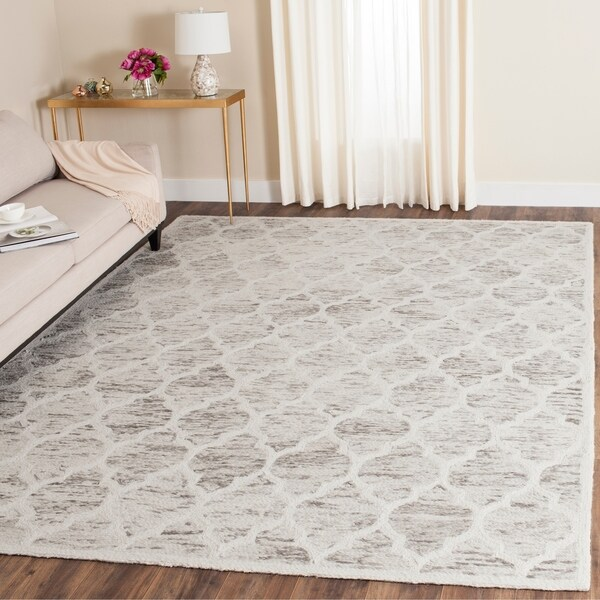 Safavieh Handmade Himalaya Light Brown/ Ivory Geometric Wool Rug - 8' x 10'