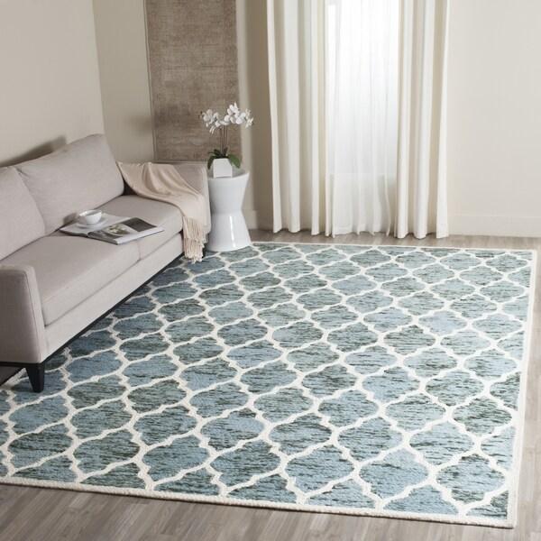 Safavieh Handmade Himalaya Turquoise/ Ivory Geometric Wool Rug - 8' x 10'