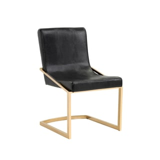 Sunpan MARCELLE DINING CHAIR - YELLOW GOLD - BLACK CROC