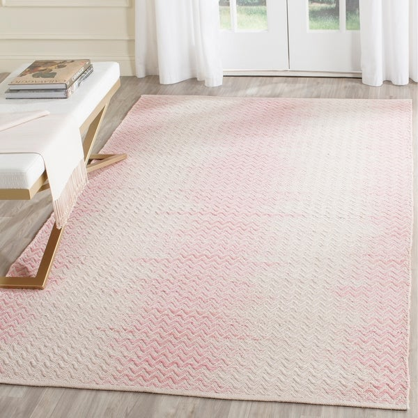 Safavieh Hand Woven Cotton Kilim Light Pink Ivory Rug 8 X27