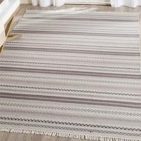 Safavieh Hand-Woven Kilim Ivory/ Black Wool Rug - 8' x 10'