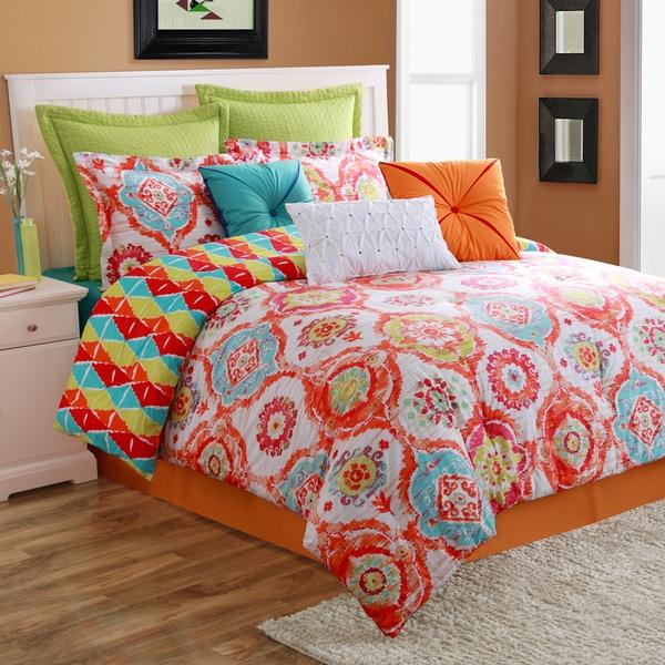 Fiesta Ava Cotton Reversible 4-piece Comforter/Bedskirt Set
