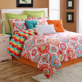 Fiesta Ava Cotton Reversible 4-piece Comforter/Bedskirt Set