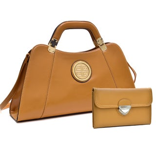 Dasein Emblem Deep Gloss Hinge Handle Bag w/Removable Shoulder Strap & Buckle Wallet