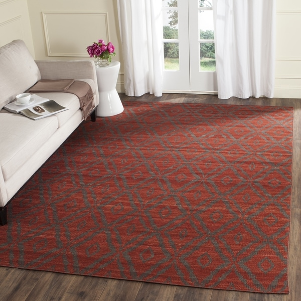 Safavieh Hand Woven Kilim Rust Grey Wool Rug 8 X 10