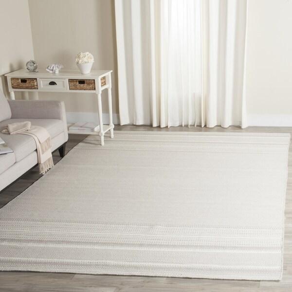 Safavieh Hand-Woven Kilim Grey/ Ivory Wool Rug - 10' x 14'