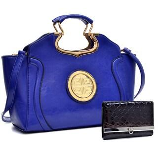Dasein Drop Handle Deep Gloss Winged Handbag w/Removable Shoulder Strap & Snake Skin Tri-fold Wallet