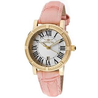 Invicta Women's Wildflower Pink Genuine Leather Silver-Tone Watch