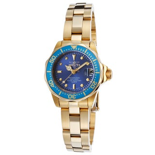 Invicta Women's Pro Diver 18K Gold Plated SS Blue Dial Watch