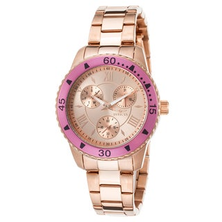 Invicta Women's Angel Watch with 18k Rosetone Gold Plating and Pink Bezel with Three Sub Dials