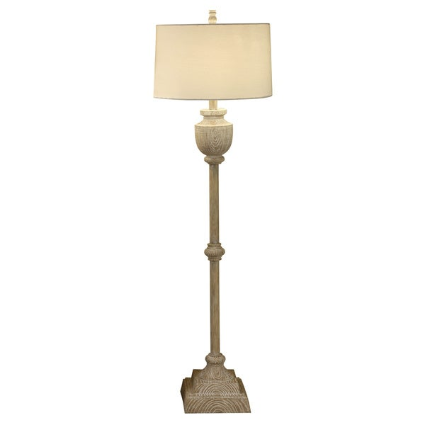 Avalon Carved Bleached Wood 63-inch Floor Lamp