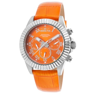 Invicta Women's Pro Diver Orange Genuine Leather and Silver-Tone Watch