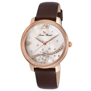 Lucien Piccard Mirage Brown Satin White Mother of Pearl Dial Rose-Tone Watch