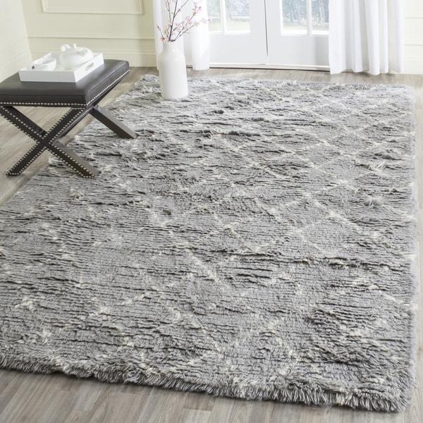 Safavieh Handmade Kenya Light Grey/ Ivory Wool Rug - 9' x 12'