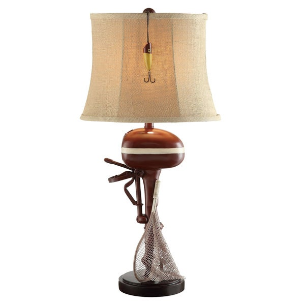 Outboard Antique Ivory and Red 30-inch Table Lamp
